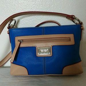 NWOT Tignanello cross body bag, blue,tan ,red colo